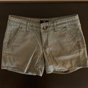 Olive green khaki midi shorts (American Eagle)